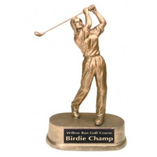 "9"" Antique Gold Female Golf Resin"